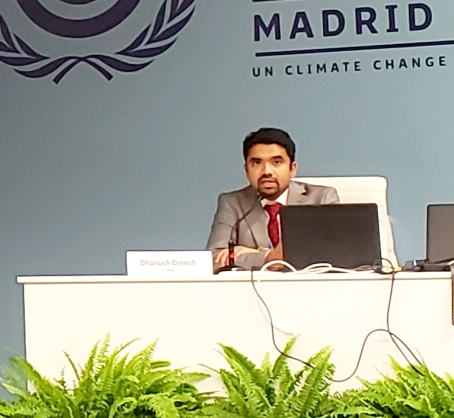 Global Policy Engineer Dhanush Dinesh presented about Transforming Food Systems at COP25.