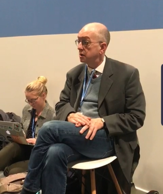 Climate communications expert George Marshall gave our Christian Observers group a private training at COP25.